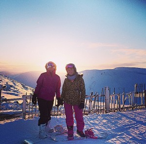 2 Boarding babes , sunset at glenshee